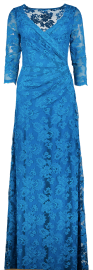 OLVI'S STRETCH LACE GOWN OCEAN BLUE V-NECK