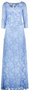 OLVI'S STRETCH LACE LIGHT BLUE GOWN | SIDE DRAPING & LACE BACK