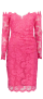 OLVI'S STRETCH LACE CANDY PINK DRESS WITH INVISIBLE MESH SINGOALLA NECKLINE