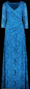 OLVI'S STRETCH LACE GOWN OCEAN BLUE V-NECK
