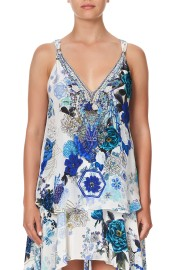 CAMILLA SILK TANK TOP WITH STRAP BEAD DETAIL WHITE SIDE OF THE MOON