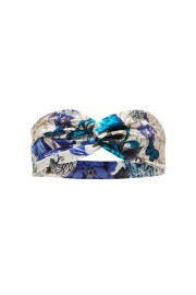 CAMILLA | SILK WOVEN TWIST HEADBAND WHITE SIDE OF THE MOON