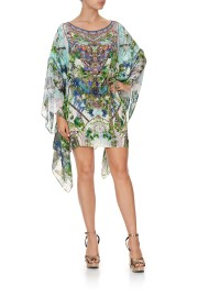 CAMILLA  SILK SHORT KAFTAN WITH SHEER SLEEVES MOON GARDEN