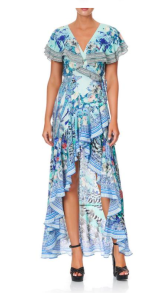 CAMILLA FRILL SLEEVE SILK LONG DRESS WINGS OF LUXOR