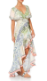 CAMILLA SILK FRILL SLEEVE LONG DRESS BEACH PRINT