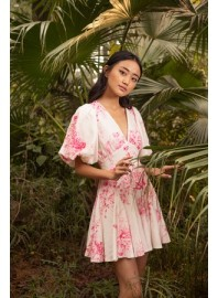 HEMANT AND NANDITA BRIE DRESS PINK & WHITE