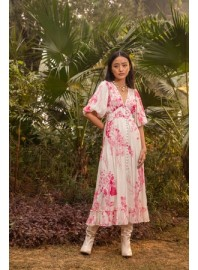 HEMANT AND NANDITA BRIE DRESS LONG PINK & WHITE