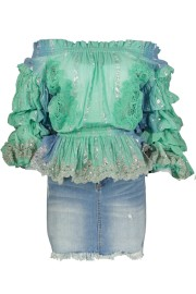 PARIS PICKED OFF SHOULDER MINT BLOUSE