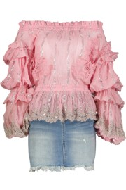 PARIS PICKED OFF SHOULDER PINK BLOUSE