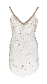 PARIS PICKED PARTY DRESS WITH HANGING SEQUINS & LOW BACK | WHITE & GOLD