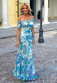 OLVI'S STRETCH LACE FLORAL BLUE GOWN