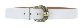 MAISON BOINET LEATHER & BRASS BELT WHITE