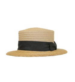 GREVI NATURAL STRAW HAT BLACK BLACK BAND