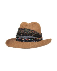 GREVI NATURAL  STRAW HAT BLACK BLACK KERCHIEF