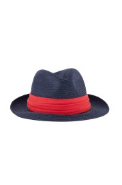 GREVI BLUE PANAMA HAT RED BAND