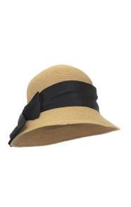 GREVI NATURAL STRAW HAT BLACK BLACK BAND