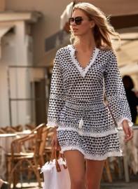 MELISSA ODABASH RIVIERA SHORT DRESS NAVY & WHITE