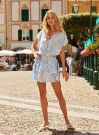 MELISSA ODABASH KERI TROPICAL BLUE SHORT DRESS