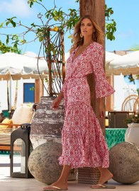 MELISSA ODABASH SKYE AMALFI RED LONG DRESS