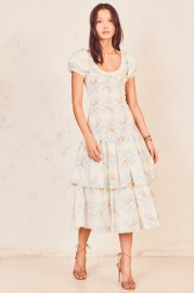 LOVESHACKFANCY KEATON COTTON DRESS PASTEL BLUE