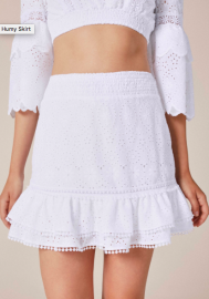 CHARO RUIZ HUMMY EMBROIDERED RUFFLE MINI SKIRT