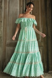 MISS JUNE WISTERIA LONG DRESS AQUA