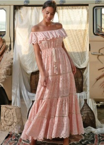 MISS JUNE WISTERIA LONG DRESS PEACH