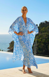 MELISSA ODABASH  LOLA LACE-UP LONG KAFTAN DRESS WATERFALL