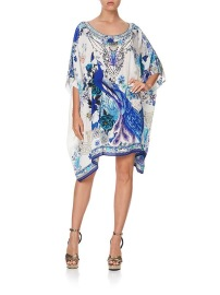 CAMILLA SILK SHORT ROUND NECK KAFTAN DRESS