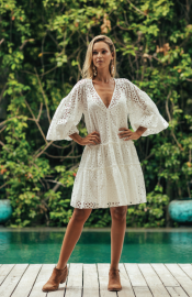 MISS JUNE LAYLAH FRENCH LACE DRESS WHITE