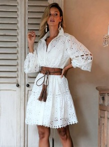 MISS JUNE JULIET FRENCH LACE DRESS WHITE