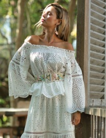 MISS JUNE ONYX TOP BRODERIE ANGLAISE LACE WHITE