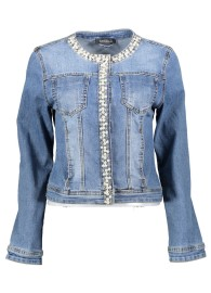 PARIS STRETCH DENIM JACKET | PEARLS AND DIAMONTES LIGHT DENIM
