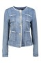 PARIS STRETCH DENIM CHANEL STYLE JACKET & PEARL INSET BUTTONS