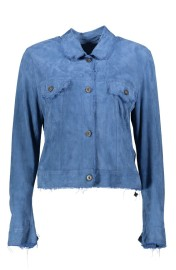 SALVATORE SANTARO SUEDE JACKET/SHIRT ULTRA THIN & SOFT DENIM BLUE