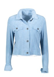 SALVATORE SANTARO SUEDE JACKET/SHIRT ULTRA THIN & SOFT BABY BLUE