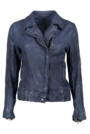 SALVATORE SANTARO LUX PERFORATED LEATHER BIKER JACKET MIDNIGHT BLUE