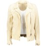 SALVATORE SANTARO LUX PERFORATED LEATHER BIKER JACKET IVORY