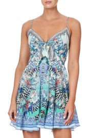 CAMILLA SILK SHORT TIE FRONT DRESS WINGS OF LUXOR