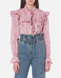 PHILOSOPHY DI LORENZO SERAFINI WILDFLOWERS LIBERTY MUSLIN BLOUSE