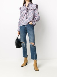 PHILOSOPHY DI LORENZO SERAFINI WILDFLOWERS LIBERTY MUSLIN BLOUSE BLUE PURPLE PINK