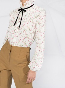 PHILOSOPHY DI LORENZO SERAFINI WILDFLOWERS LIBERTY MUSLIN FLORAL WHITE BLOUSE