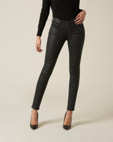 7 FOR ALL MANKIND THE SKINNY COATED SLIM ILLUSION BLACK