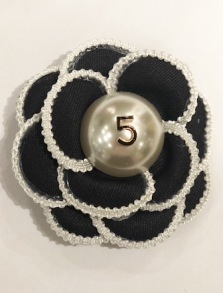 CHANEL INSPIRED BROCHE   BLACK 8cm