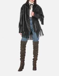 PHILOSOPHY DI LORENZO FAUX LEATHER FRINGE JACKET