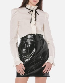 PHILOSOPHY DI LORENZO SERAFINI PLEATED RUFFLE COTTON SHIRT