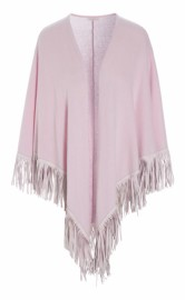 DEA KUDIBAL CASHMERE CAPE WITH FRINGES ROSE