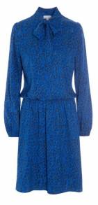 DEA KUDIBAL TALLULAH SILK STRETCH DRESS BLUE & BLACK LEOPARD