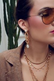 SHOUROUK DOUBLE COBRA GOLD CHAIN EARRINGS