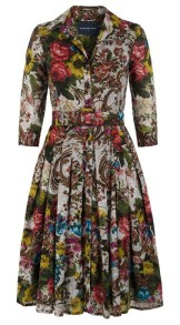 SAMANTHA SUNG AUDREY DRESS #4 SHIRT COLLAR 3/4 SLEEVE COTTON MUSOLA (VENICE CARPET)